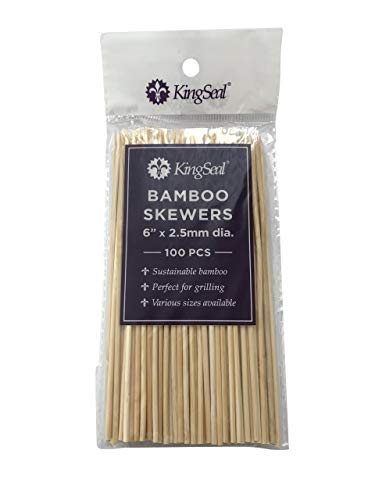 (KingSeal Natural Bamboo Wood Skewers - 6 Inches, 16 Packs of 100 per Case, for Shish Kabobs, Appetizers and)
