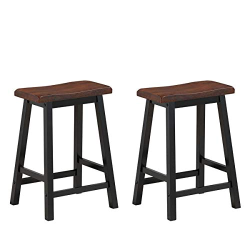 (COSTWAY Saddle Seat Stools, Wood Vintage Counter Height Chairs, Modern Backless Design Indoor Furniture for Kitchen, Dining, Pub and Bistro, Set of 2 (24
