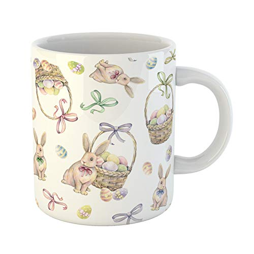 Emvency Coffee Tea Mug Gift 11 Ounces Funny Ceramic Rabbit Easter Basket on Color Eggs Watercolor Drawing Handwork Gifts For Family Friends Coworkers Boss Mug -