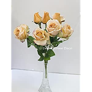 Sweet Home Deco 16'' Silk Rose Artificial Flower Bouquet (12 Stems/12 Flowers) Wedding Home Decorations 107