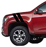 Clausen's World 4' Truck Fender Hash Mark Bars Carbon Fiber Vinyl Racing Stripes Decals (Fits Dodge Dakota) Driver Side - Black