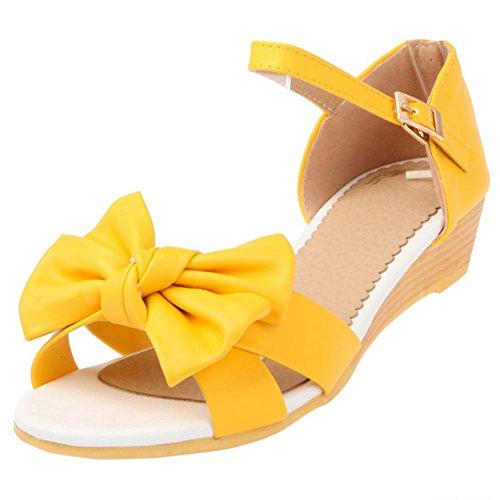 COOLCEPT Mujer Moda Al Tobillo Sandalias Punta Abierta Tacon de Cuna Zapatos With Bowknot Amarillo