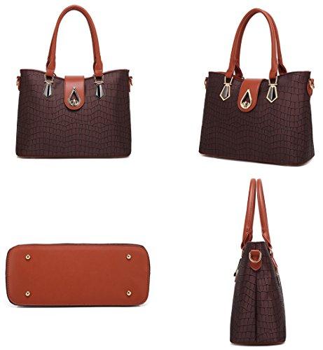 Handbag 3 Black Bags Women Shoulder Bags Multi purpose Piece Bag Set aHxOWqwd