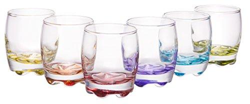 Vibrant Splash Clear Shot Glass Set, Modern Barware Set of 6 Assorted Colors, 2.75 oz (Glasses Colored Cordial)