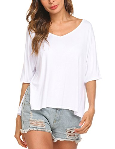 Tobrief Womens V-Neck Short Sleeve Tops Casual Slits Cotton Loose T-Shirt (Tee Soft V-neck)