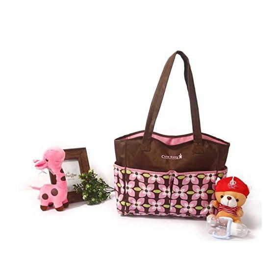 Baby Bucket Baby Diaper Nappy Changing Baby Diaper Bag/Baby Bag/Mummy Bag/Handbag (Brown & Pink Flower)
