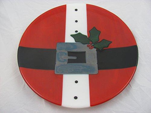 Santa's Belly Christmas Plate - Fused Glass Platter (Platter Santa Round)