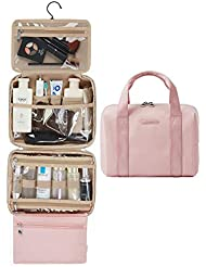 Hanging Toiletry Bag, BAGSMART Travel Toiletry Organizer with TSA Approved Transparent Makeup Bag and Detachable Cosmetic Pouch For Full Sized Toiletries, Pink