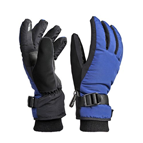 Womens Photographer Black Leather (OZERO Winter Gloves for Boys and Girls Snow Ski Gloves(Blue-black,Medium))