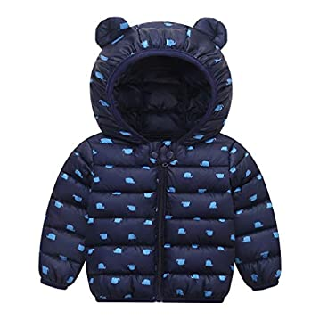 Huhu833 Baby Winter Jacke Jungen Mädchen Mäntel Cartoon Bärenohren Daunenjacke mit Kapuze Steppjacke Kinder Winterjacke Verdickte Hoodie Leichte Daunenjacke