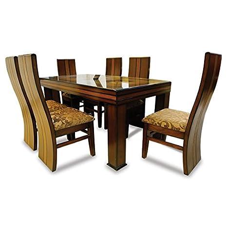Stallion Traders Brown Burma Teak Wood 6 Seater Dinning Table