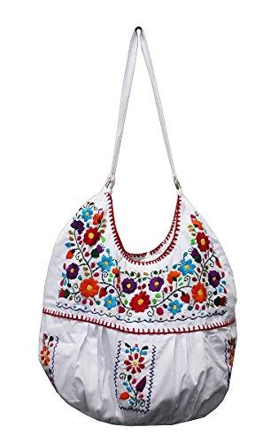 Del Mex Hand Embroidered Mexican Purse Handbag Tote (White) by Del Mex