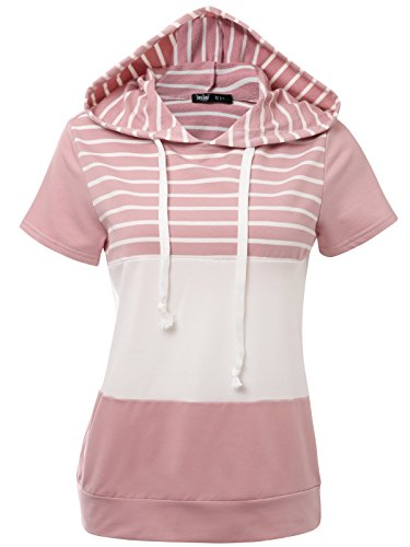 JayJay Women Casual Athleisure Velvet Contrast Color Short Sleeve Pullover Hoodie Sweater Shirt