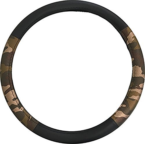 Heavy duty durable soft Metallic Camo Steering Wheel Cover Black and Metallic Brown Dark Green Forest Camouflage Water Resistant Dual Grip for Car SUV - Hot & Cold Protection for your Hands ()