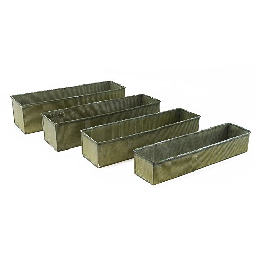 (CYS EXCEL ZACB051604S4 Metal Corrugated Rustic Zinc Rectangle Set of 4 with Different Size, Gaborone)
