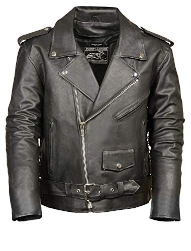 (Event Biker Leather Men's Basic Motorcycle Jacket with Pockets (Black, 4X-Large))
