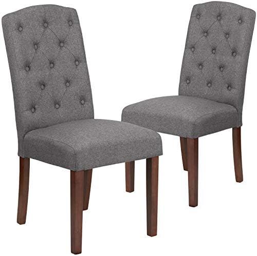 Flash Furniture 2 Pk. HERCULES Grove Park Series Gray Fabric Tufted Parsons Chair