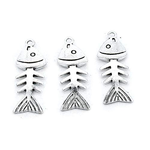 (40 Pieces Antique Silver Plated Jewelry Charms Findings Fashion Craft Making Crafting R2CB6O Fish Bone Fishbone)