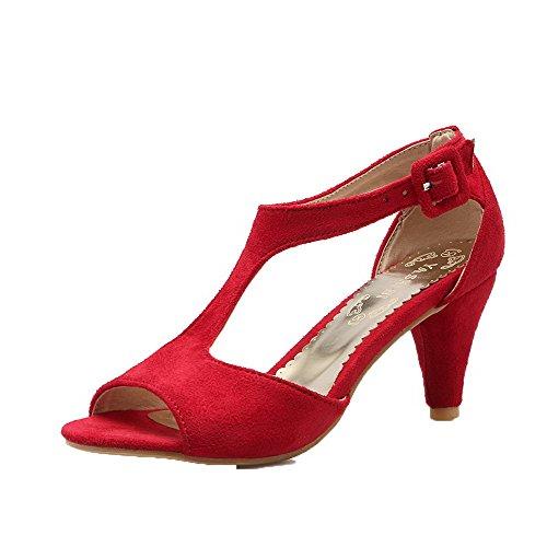 Dépolissement GMBLA012982 Unie à Couleur Correct Rouge AgooLar Femme Talon Sandales Boucle tqSfazx