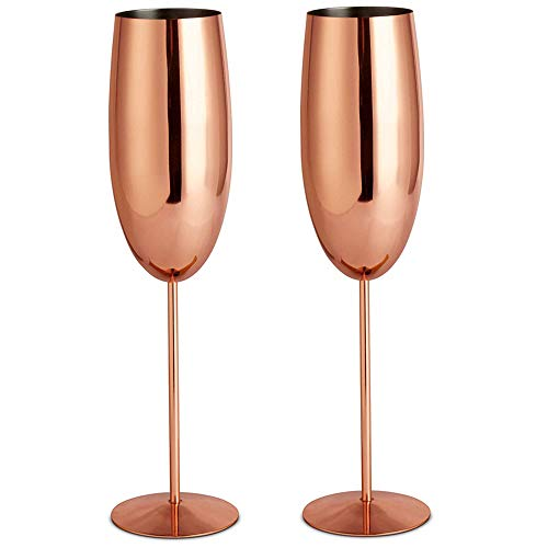 VonShef Copper Champagne Flutes Shatterproof Stainless Steel Set of 2 9oz Champagne Glasses with Gift Box