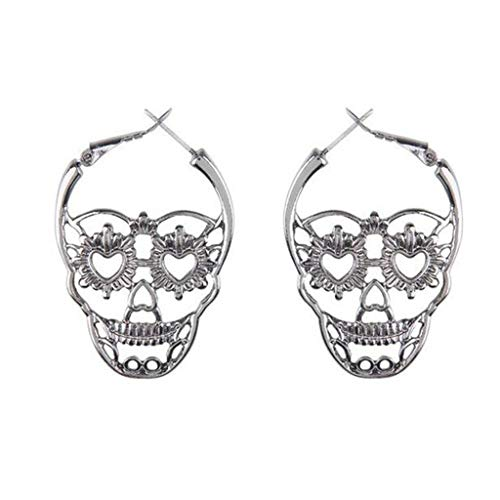 Kofun Earrings, Skull Earrings Punk Style Heart Shape Eyes Hollow Floral Dangle Women Jewelry Personality Ear Stud Charms Party Halloween White -