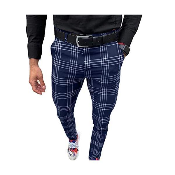 OEAK Hommes Chino Pantalon Slim Fit Rayé Casual Élastique Pantalon à Carreaux Business Pantalon de Sport Décontracté…
