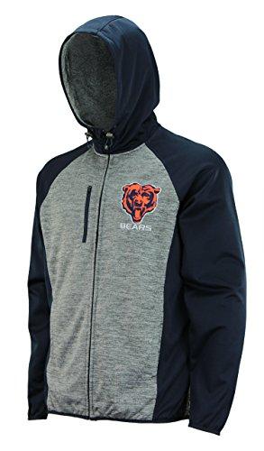 - G-III Sports Mens NFL Heathered Grey Solid Fleece Full Zip Hooded Jacket, Chicago Bears Medium