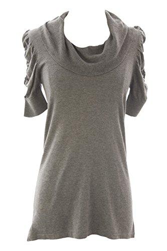 August Silk Women's Cowl Neck Tunic Sweater Petite Medium Grey Heather