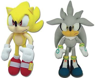Amazon Com Sonic The Hedgehog Great Eastern Plush Set Of 2 Super Sonic 8958 Silver 8960 Toys Games