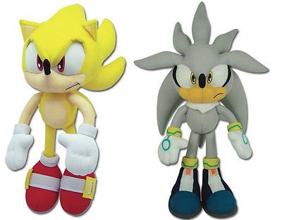 Great Eastern Sonic the Hedgehog Plush Set of 2 - Super Sonic (8958) & Silver (8960)