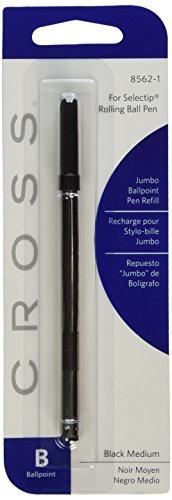 Cross Black Jumbo Ball-Point Refill for Selectip Pens Medium Point 6 (Cross Townsend Selectip Rolling Ball)