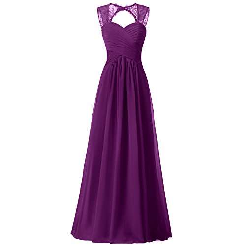 Bridesmaid Chiffon Lace Dress ALAGIRLS Long Gowns Wedding Party Womens Straps Grape wIqwaSX6