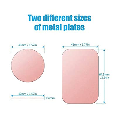Mount Metal Plate with Adhesive for Magnetic Cradle-Less Mount -X4 Pack 2 Rectangle and 2 Round (Compatible with WizGear mounts) (Rose Gold)