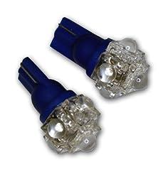 TuningPros LEDCK-T10-B5 Clock LED Light Bulbs T10 Wedge, 5 Flux LED Blue 2-pc Set