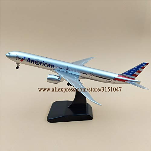 ZAMTAC 19cm Metal Plane Model Air American AA Airlines B777 300ER Airplane Model Boeing 777 Airways Aircraft w Stand Wheels Gift