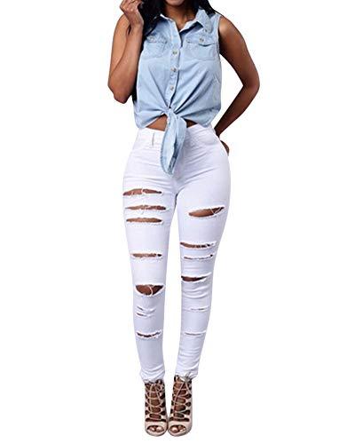 Jeans Flacos ZhuiKunA Pantalones Rotos Mujer Blanco Alta Cintura Lápiz 0ttqwT