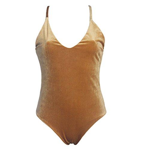 Bang-pa Sexy Swimwear Women Velvet One Piece Swimsuit Swimwear Cross Strap Backless Yellow - Malls Grand Rapids Mi