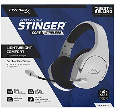 HyperX Cloud Stinger Core – Wireless Gaming Headset, for PS4, PC, Lightweight, Durable Steel Sliders, Noise-Cancelling Microphone, White (HHSS1C-KB-WT/G) 414noNVz DL