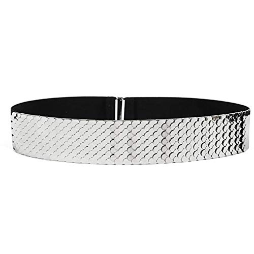 VOCHIC Womens Metal Mirror Elastic Stretch Silver Waist Belt Metallic Waistband Plate Wide Belts