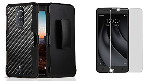 T-Mobile REVVL Plus - Accessory Bundle: Dual Layer Shockproof Kickstand Belt Holster Case - (Carbon Fiber), Bubble-Free Tempered Glass Screen Protector and Atom (Belt Cp Carbon Fiber)