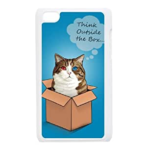iPod Touch 4 Case White cat think outside Cwhft