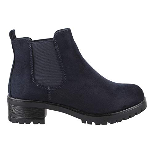 Bequeme Blockabsatz Boots Navy Damen Stiefeletten Elara Profilsohle Chelsea vABqw66E