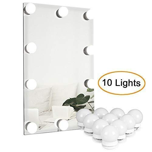 - Waneway Vanity Lights for Mirror, DIY Hollywood Lighted Makeup Vanity Mirror with Dimmable Lights, Stick on LED Mirror Light Kit for Vanity Set, Plug in Makeup Light for Bathroom Wall Mirror, 10-Bulb
