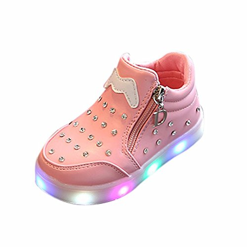 Neartime kid Shoes, 2018 New Children Kids Girls Zipper Crystal LED Light Up Luminous Sneakers Shoes (Age:3-3.5T, (15 Children That Have Won Halloween)