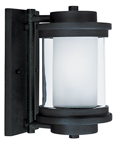 (Maxim 55862CLFTAR Lighthouse LED 1-Light Small Outdoor Wall, Anthracite Finish, Clear/Frosted Glass, GU24 LED Bulb , 60W Max., Dry Safety Rating, Standard Dimmable, Glass Shade Material, 2016 Rated)