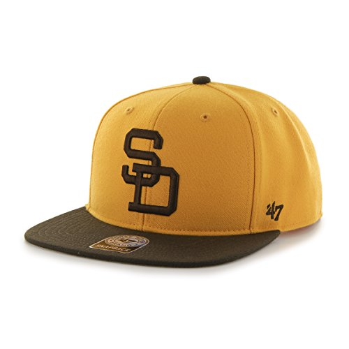 MLB San Diego Padres Sure Shot Two Tone Captain Wool Adjustable Hat, One Size, Gold Logo Two Tone Wool