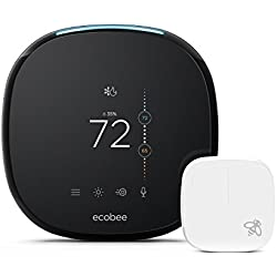ecobee4 Alexa-Enabled Thermostat with Sensor, Works with Amazon Alexa
