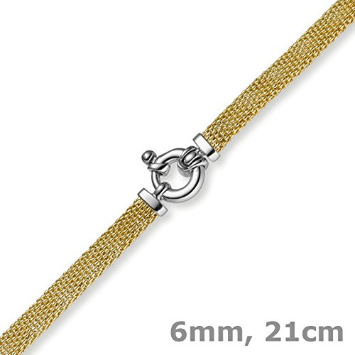 Les bracelets framboise - 6 mm plat-bracelet en or jaune 585 en or - 21 cm