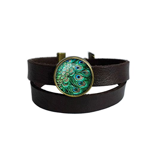 LooPoP Vintage Punk Dark Brown Leather Bracelet Peacock Feather Belt Wrap Cuff Bangle Adjustable
