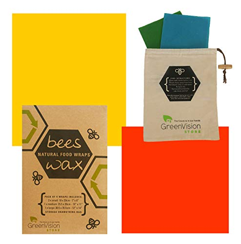 Beeswax Wraps For Natural Food Storage - Reusable, Sustainable Eco Friendly - 4 Pack with Bonus Cotton Storage Bag - Healthy and Great Alternative to Plastic